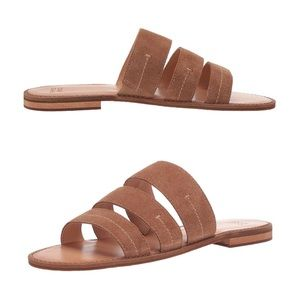 Frye Leather Flat Band Brown Womens Slide Sandals